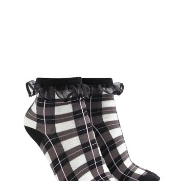 Ruffled Plaid Ankle Socks
