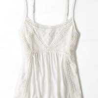 AEO Women's Crocheted Mesh Babydoll Tank (Chalk)
