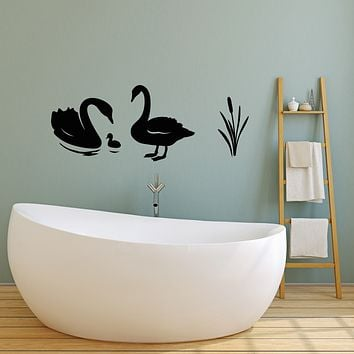 Vinyl Wall Decal Swans Family Birds Lake Cute Decor Stickers Mural (g1826)