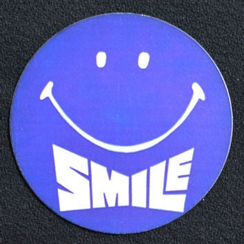 Set of Five 5 Retro Vintage 70s Seventies Smile Stickers - Large Red White and Blue