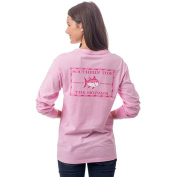 Women's Original Skipjack Long Sleeve Pocket Tee in Lemonade Pink by Southern Tide