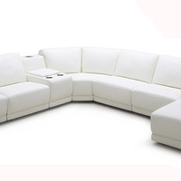 Divani Casa Cypress - Modern White Leather Sectional Sofa with Headrests and Beverage Console