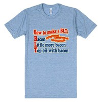 Funny Bacon Humor BLT Sandwich-Unisex Athletic Blue T-Shirt