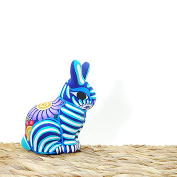 Turquoise ceramic rabbit - pottery bunny - teal and white polka dots - Funky ceramic figurine