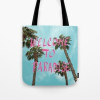 Welcome To Paradise - Pink Tote Bag by Lisa Argyropoulos