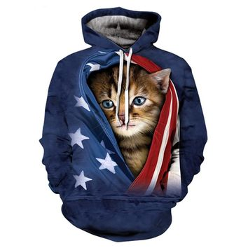 Unisex 3D The American flag Cat Print Long sleeve Hoodie Plus Size S-5XL