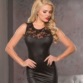 Allure Black Wet Look Laced Mini Dress Runched Back