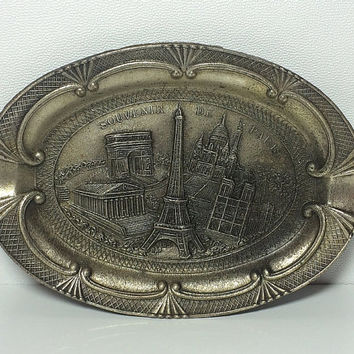 Polyor Paris Souvenir Ashtray Trinket Tray Eiffel Tower ArchdeTriomphe Notre Dame Silver French France Soaring Hawk Vintage Free US Shipping
