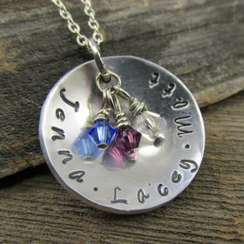 Mother's Swarovski Charm Necklace, Personalized Necklace, Birthstone Necklace, Initial Necklace, Crystal Birthstone Necklace