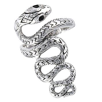 Snake Scales Long Simulated Black Onyx Serpent Ring Wave Sterling Silver Band Sizes 713