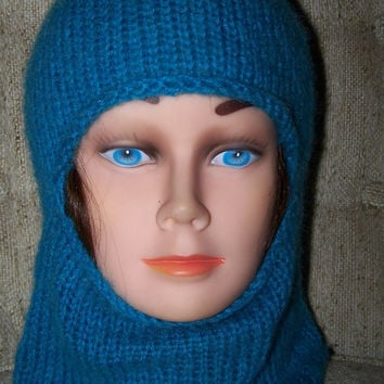 Mohair Balaclava Hat Turquoise Ski Mask Fuzzy Texture Dark Blue Thick OOAK Beanie Hand Knit New