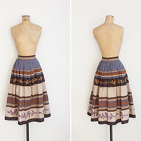 1960s Skirt - Vintage 60s Striped Linen Skirt - Ocaso Skirt