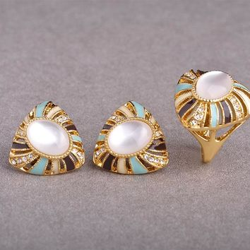 New Classic White Opal Stud Earring Ring Set