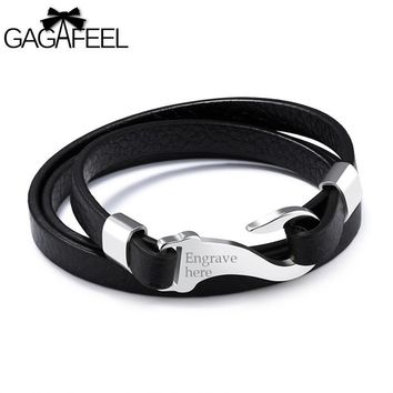 Custom ID Bracelets For Men Jewelry Laser Engrave Logo Stainless Steel Bracelet Leather Cowhide Cuff Watch Wrap Bangles