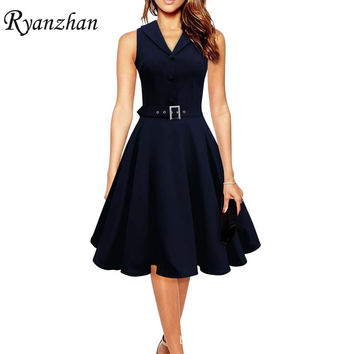 Audrey Hepburn Style Elegant Retro Dress 50s 60s Sleeveless Turn Down Collar Slim Women Summer Dress