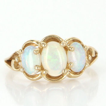 Vintage 14k Yellow Gold Natural Opal Trilogy Ring Estate Fine Jewelry Heirloom