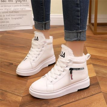 Women Winter Shoes 2018 Fashion Warm Women Casual Shoes High Top Ladies Sneakers Winter Women Tenis Feminino Winter Sneakers