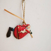 Santa Christmas ornament, tin Xmas tree ornament of Santa Claus in red clothes, smiling santa ornament, boho Xmas decor, set of three Santas