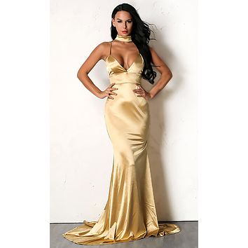 Oh So Glamorous Sleeveless Spaghetti Strap Satin Plunge V Neck Backless Mermaid Maxi Dress - 3 Colors Available