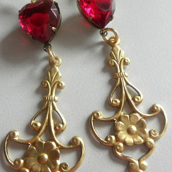 Ruby Heart Earrings  Chandelier Earrings Heart earrings  Dangle earrings Long earrings
