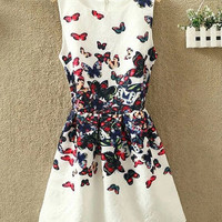 White Butterfly Print Jacquard Sleeveless Sheath A-Line Mini Dress