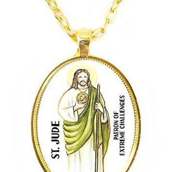 St Jude Patron Saint of Extreme Challenges Huge 30x40mm Bright Gold Pendant with Chain Necklace