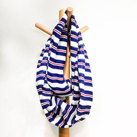 Lightweight Soft French Stripes Infinity Scarf,Spring Autumn Casual Infinity Scarf Loop Circle Scarf Navy Blue Infinity Scarf Gift For Women