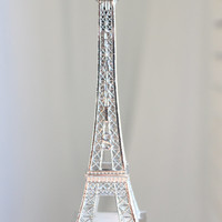 "13"" Silver Paris Eiffel Tower Cake Topper"