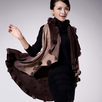 Winter Autumn Rabbit Fur Coat Women Cardigan Knitted Shawl  Wool Poncho Cardigan Women Floral Sweater = 1931910276