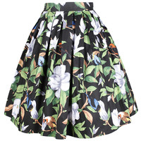 Green-leaves-print High-rise Vintage Skirt