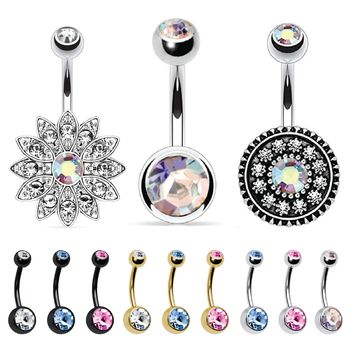 BodyJ4You 12 Pieces Double Gem Belly Button Ring Piercing Jewelry