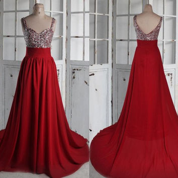 Long Burgundy Beaded Prom Dresses,Chiffon Bridesmaid Dresses 2015,Burgundy Evening Dresses,Party Dresses Homecoming Dresses
