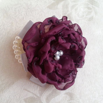 Wrist Corsage, blackberry violet silver satin flower, bridesmaid Corsage hand made silk flower faux pearls bracelet
