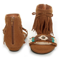 Bamboo Topnotch 02 Chestnut Beaded Fringe Flat Sandals - $28.00