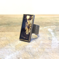Bronze Ring, Black and Gold, Bezel Ring, Rectangle Ring, Mixed Metal Ring, Nature Ring, Agate Ring