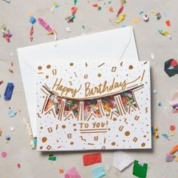 Confetti Birthday Card by Anthropologie in White Size: One Size Books