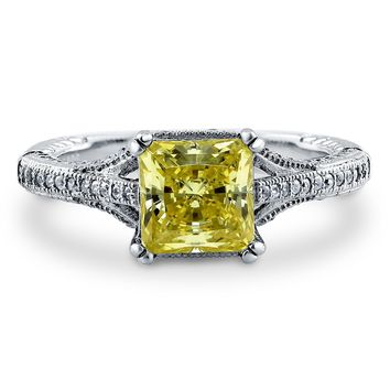 Sterling Silver Princess Canary Yellow CZ Solitaire Ring 2.42 ct.tw1 Review(s) | Write A ReviewSKU# R918-02