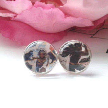 Superhero Couple Stud Earrings - Storm - Black Panther - Comic Book Earrings - Stud Earrings - Studs - Earrings - Fake Plugs