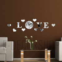 Decorative Wall Mirror Clock for every home and wall decor  I Love You