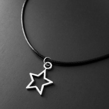 Star Necklace, Black Choker, Star Choker, 90s Jewelry, Grunge Jewelry, Star Pendant, Punk Jewelry, Tumblr Jewelry, Minimalist Necklace