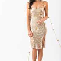 Jenna Gold Sequin Strapless Midi Dress