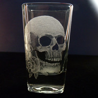 skull shot glass, glassware hand engraved, halloween
