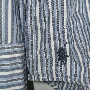 Mens Ralph Lauren Shirt Blue White Striped XL Long Sleeve Cotton Vintage 80s Formal Dr