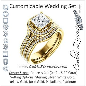 CZ Wedding Set, featuring The Mia Sofia engagement ring (Customizable Cathedral-Halo Princess Cut Style with Wide Split-Pavé Band)