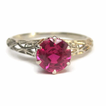 Vintage 1930s 14k Ruby Engagement Ring Size 8 Deakin & Francis