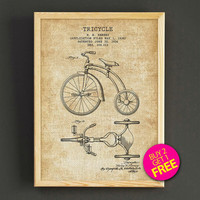 Velocipede Tricycle Patent Print Bicycle Blueprint Poster House Wear Wall Art Decor Gift Linen Print - Buy 2 Get FREE - 293s2g