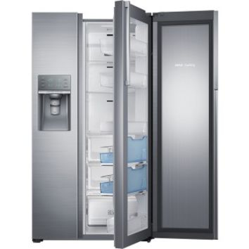 Samsung - Showcase 21.5 Cu. Ft. Counter-Depth Side-by-Side Refrigerator with Thru-the-Door Ice and Water - Stainless Steel