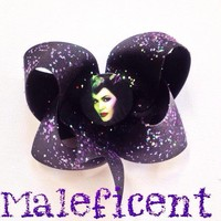 Maleficent Black purple glitter hair bow