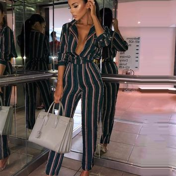 BEFORW Fashion Striped Rompers Womens Jumpsuit New Print V-neck Sexy Jumpsuits Long Sleeve Bodycon Women Bodysuit Streetwear