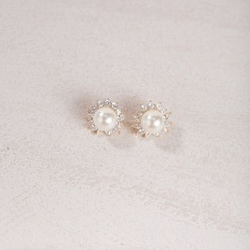 Arlene Crystal Halo Pearl Earrings